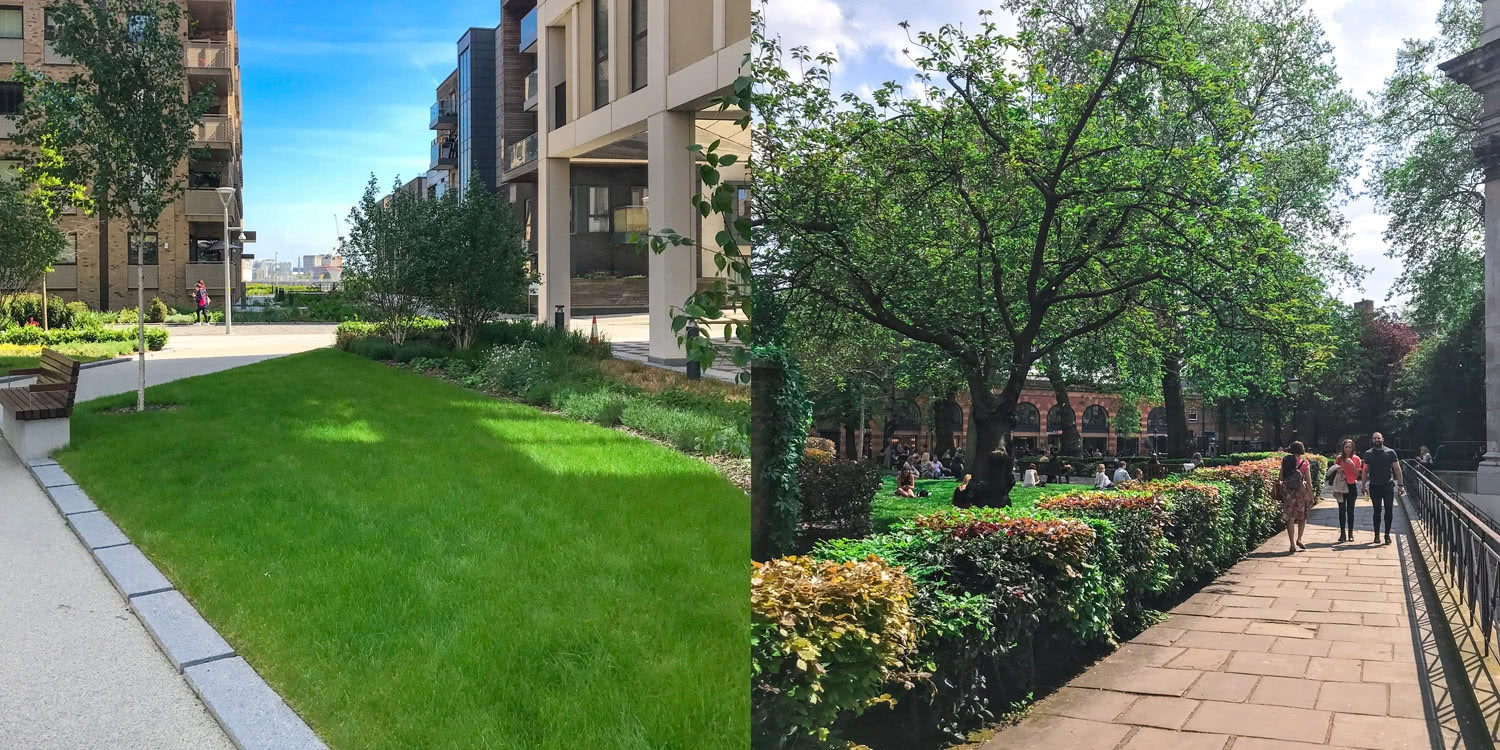 London development with green spaces