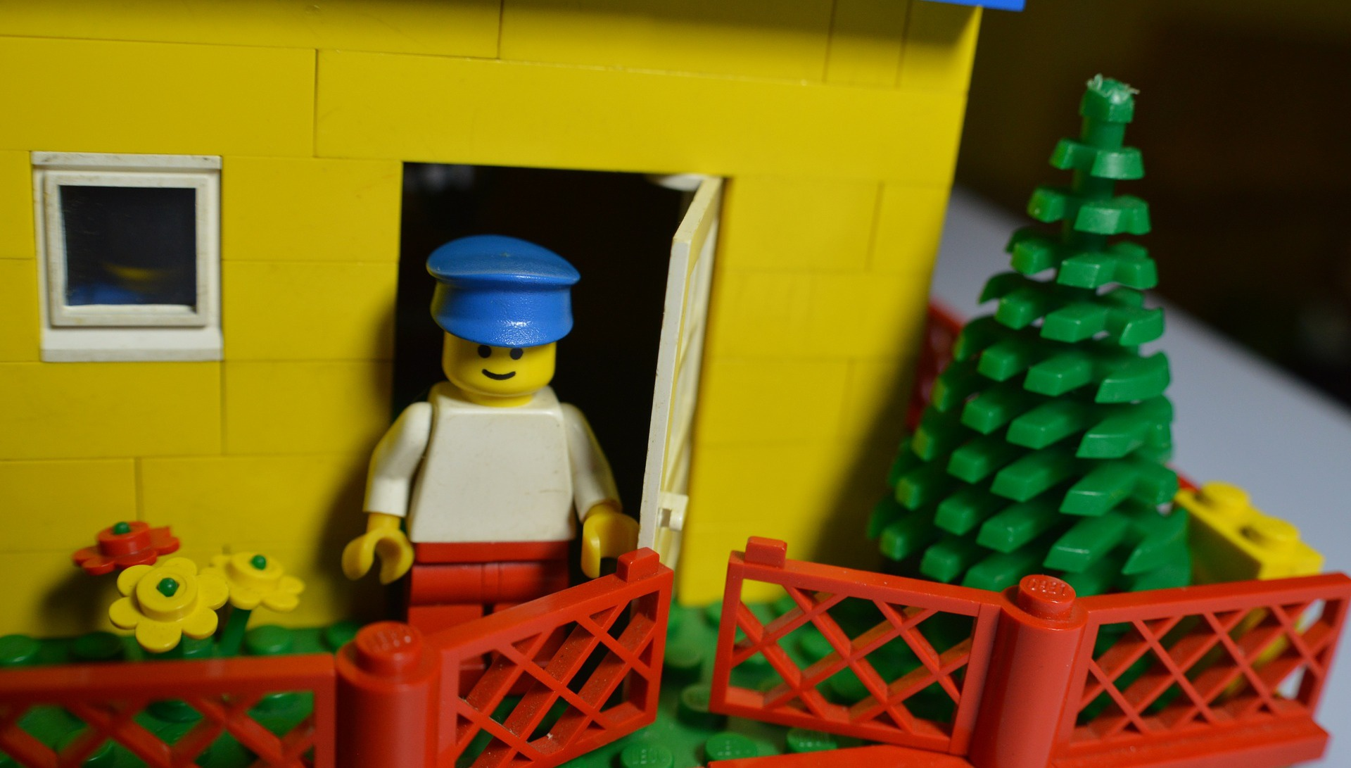 Billy, a lego character standing in the doorway of his lego house overlooked the lego garden