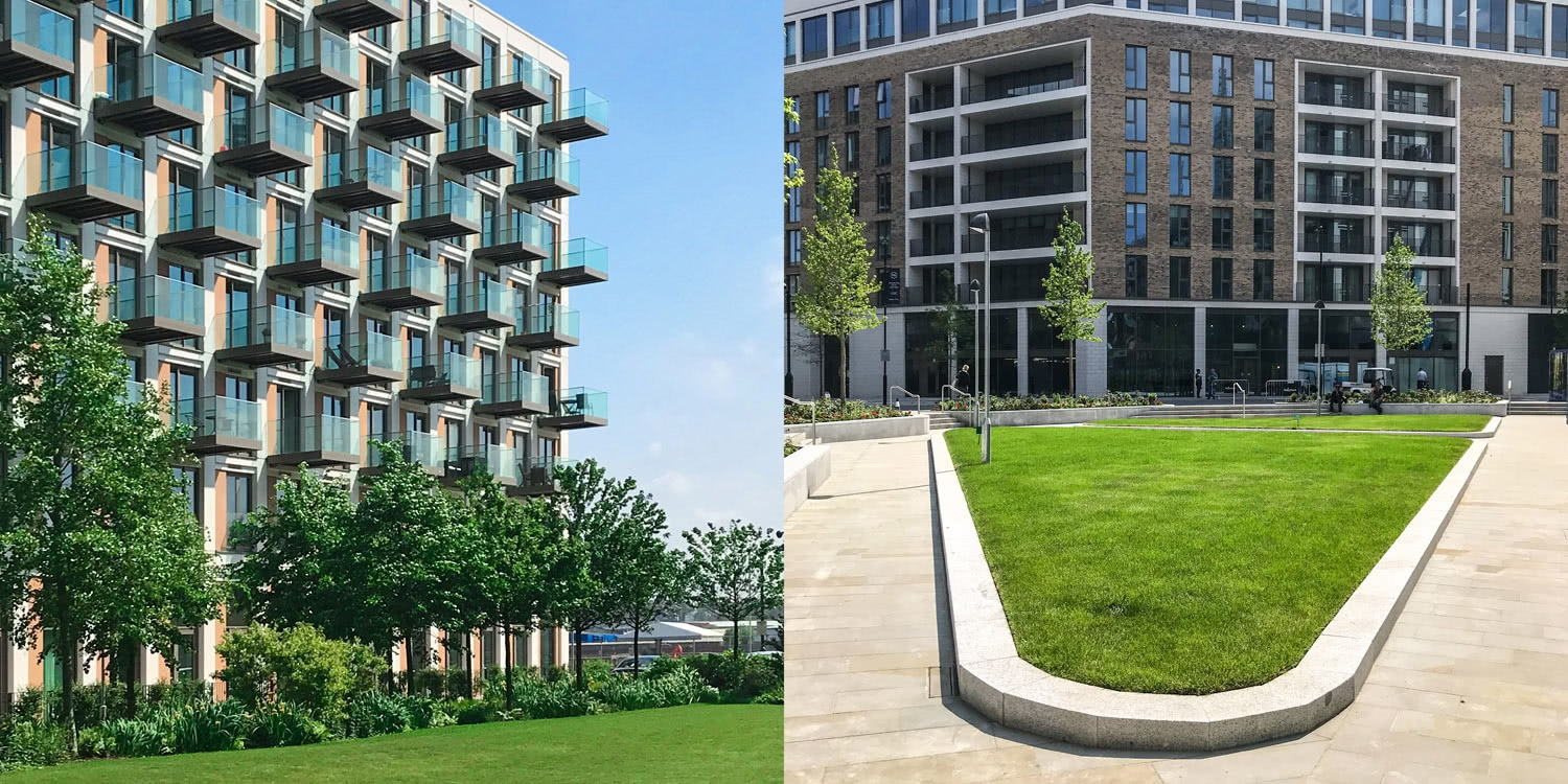 New-build property with green spaces around