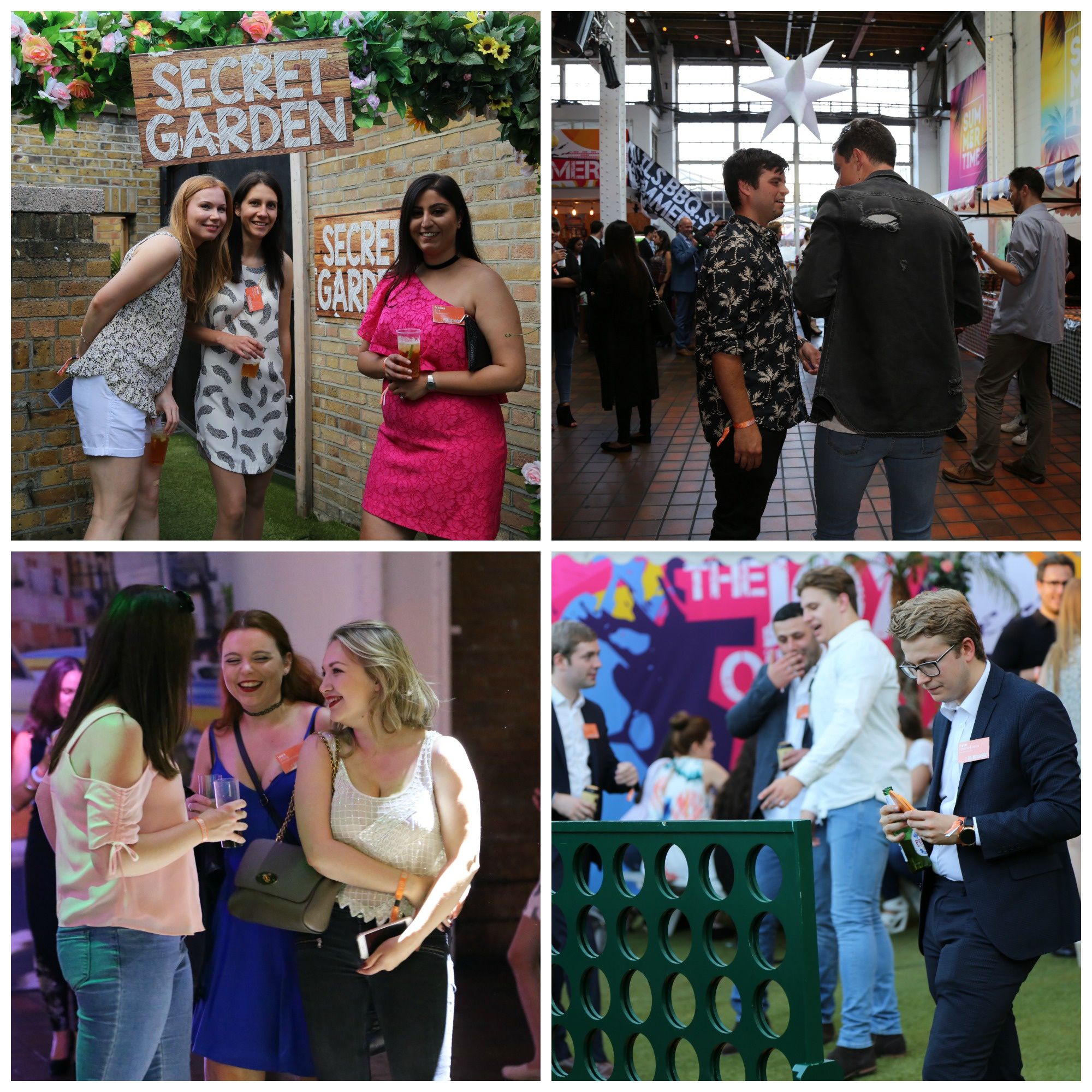 Photo collage of staff chatting and playing garden games at LiFE's summer party 2017